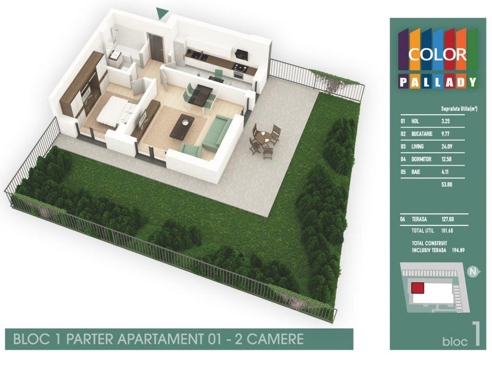 Bloc 1 – Parter – Apartament 01