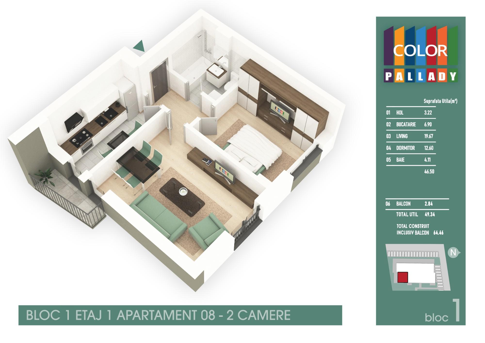 Bloc 1 - Etaj 1 - Apartament 08