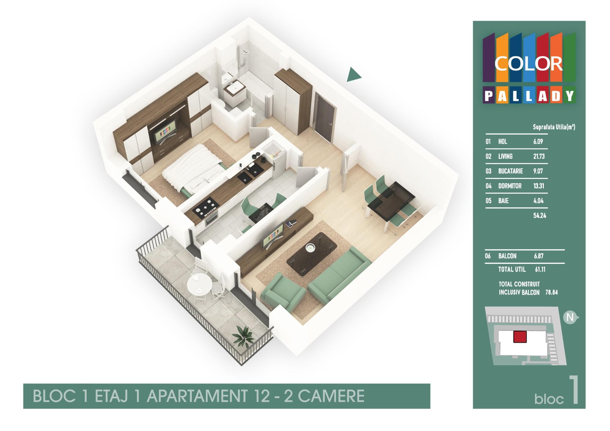 Bloc 1 - Etaj 1 - Apartament 12