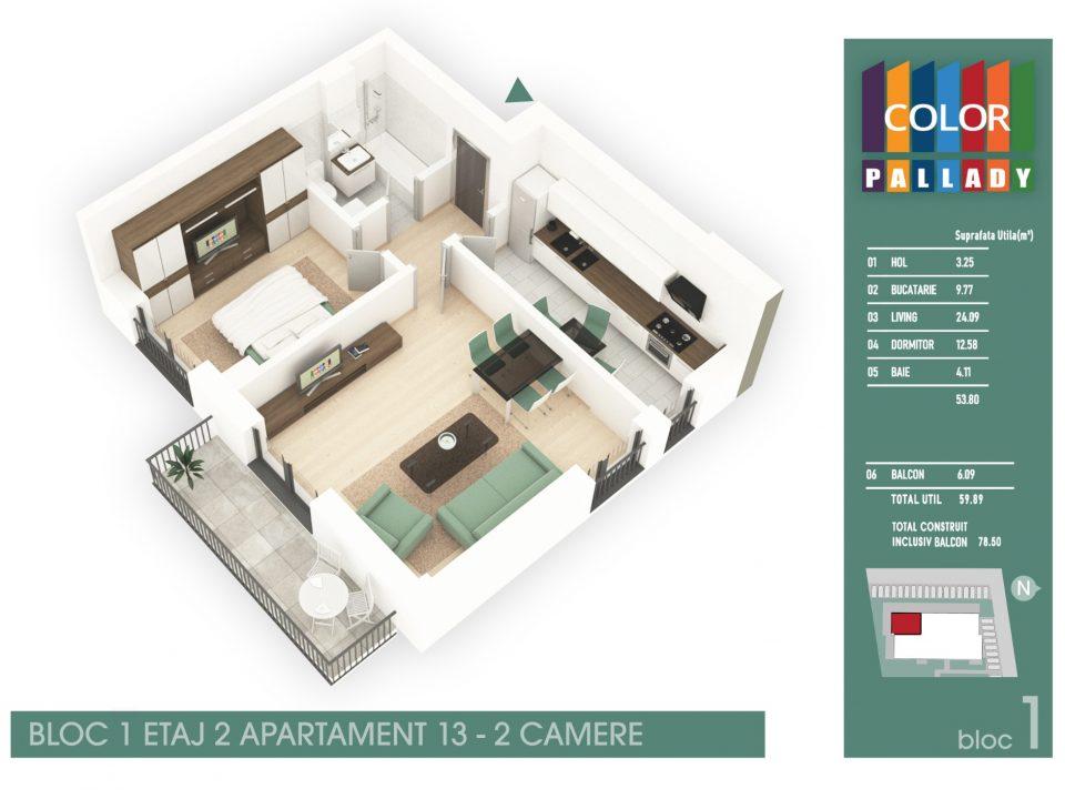Bloc 1 – Etaj 2 – Apartament 13