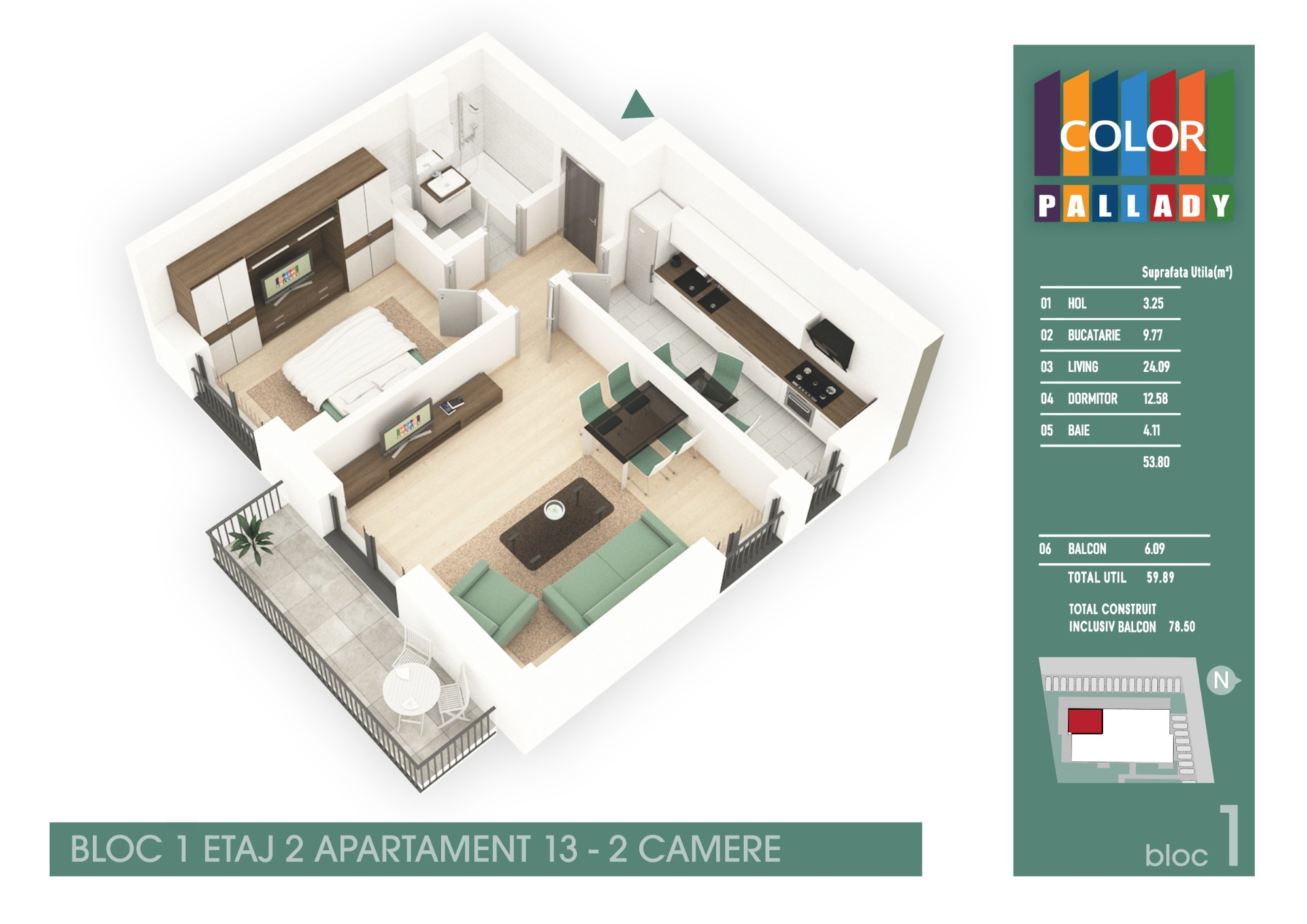 Bloc 1 - Etaj 2 - Apartament 13