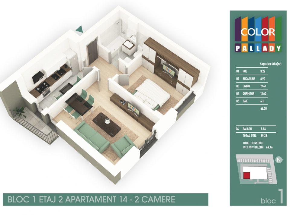 Bloc 1 – Etaj 2 – Apartament 14