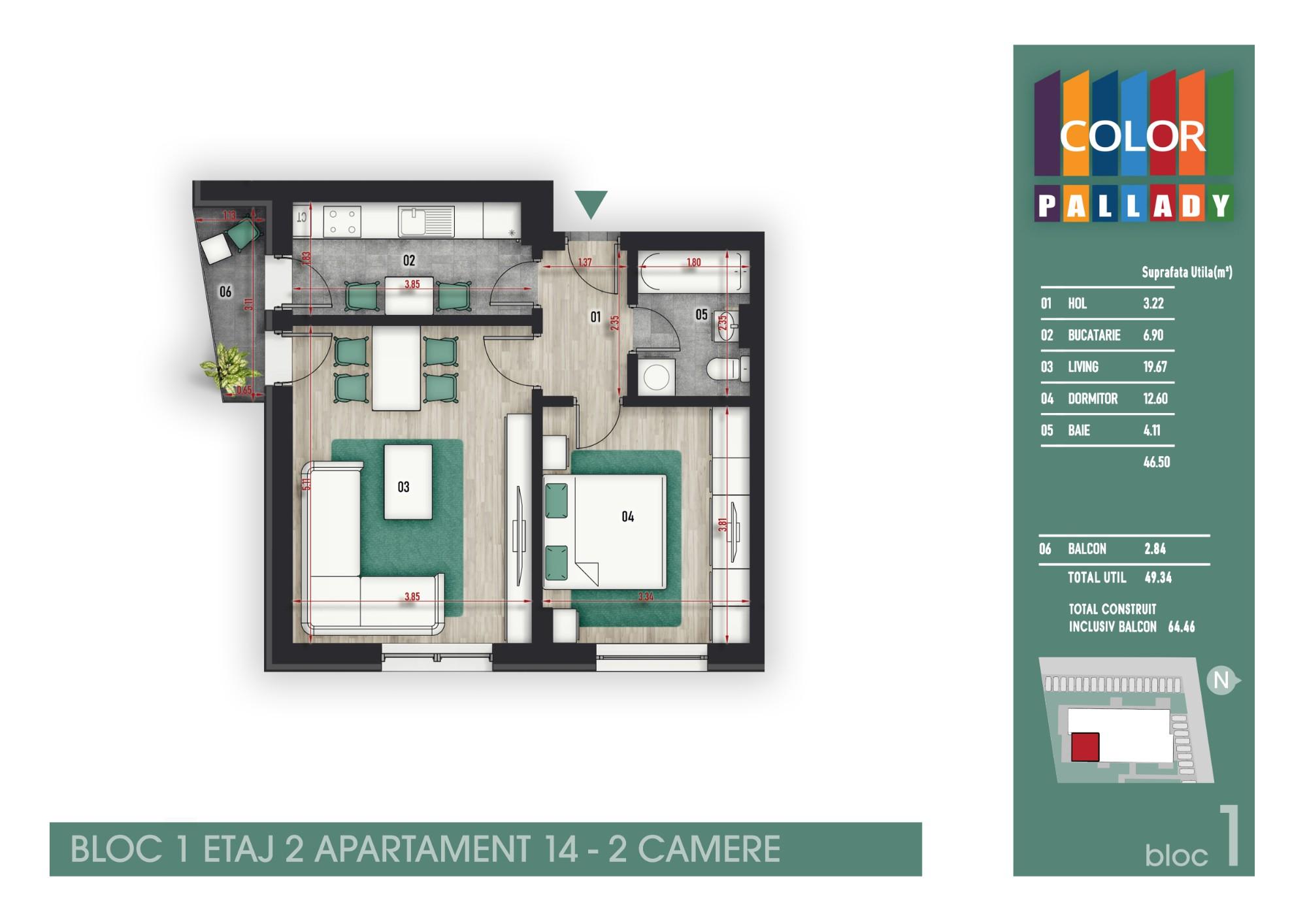 Bloc 1 - Etaj 2 - Apartament 14