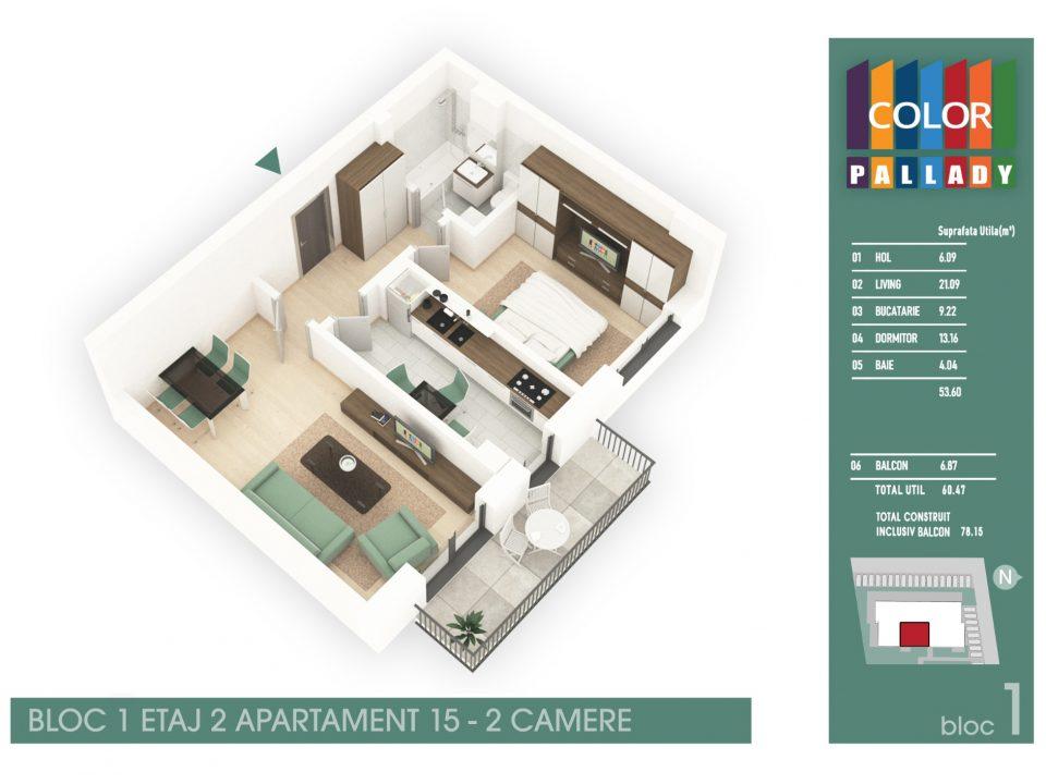 Bloc 1 – Etaj 2 – Apartament 15