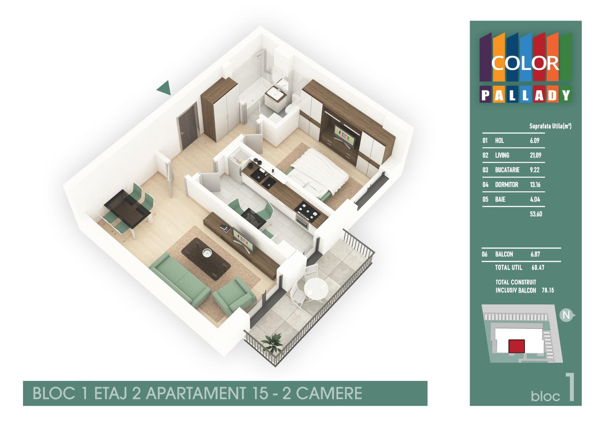 Bloc 1 - Etaj 2 - Apartament 15
