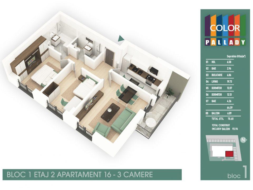Bloc 1 – Etaj 2 – Apartament 16