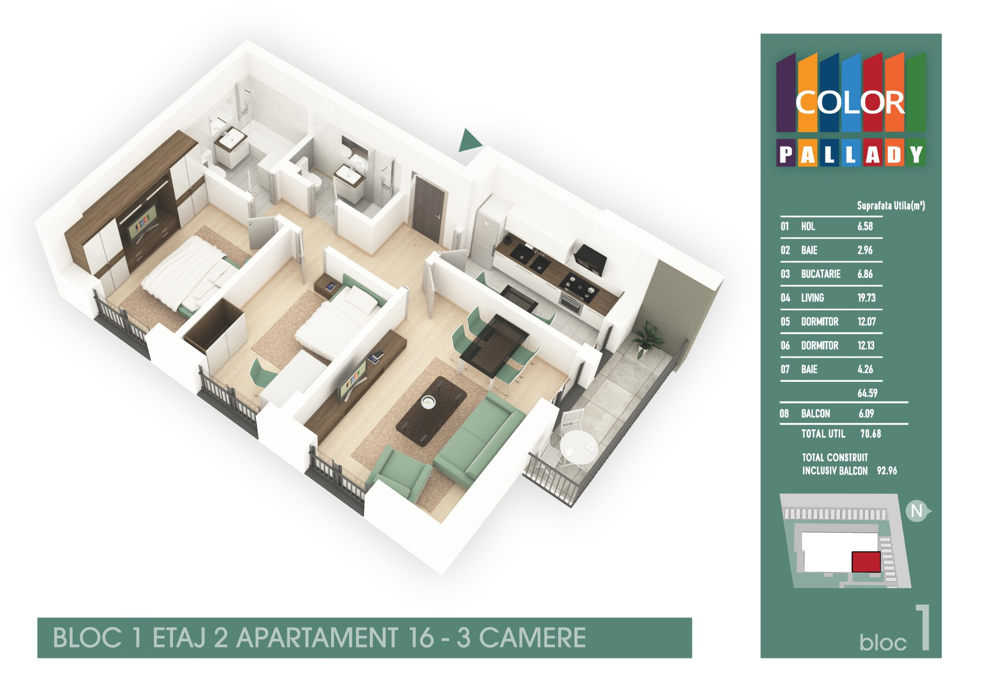 Bloc 1 - Etaj 2 - Apartament 16