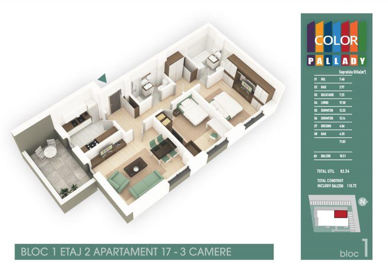Bloc 1 - Etaj 2 - Apartament 17