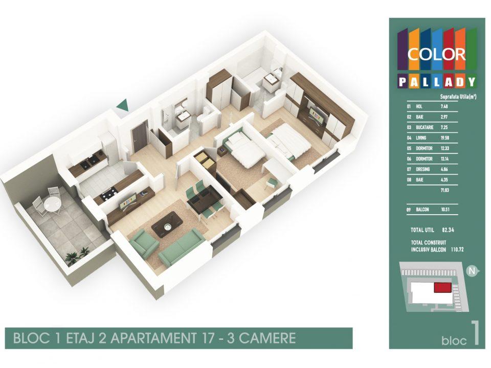 Bloc 1 – Etaj 2 – Apartament 17