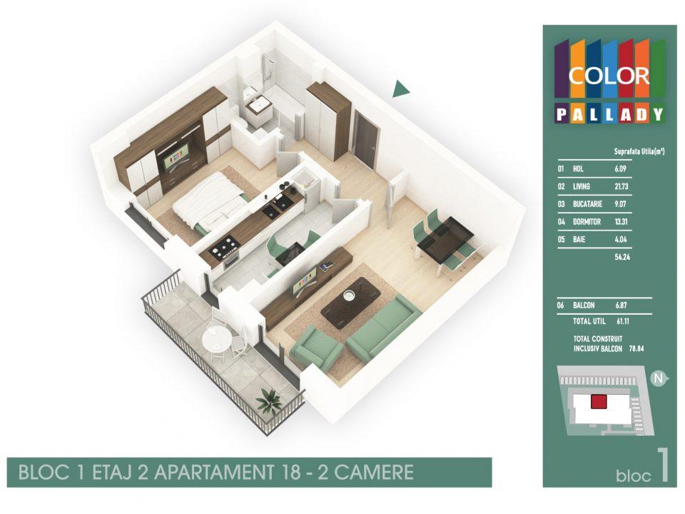 Bloc 1 – Etaj 2 – Apartament 18