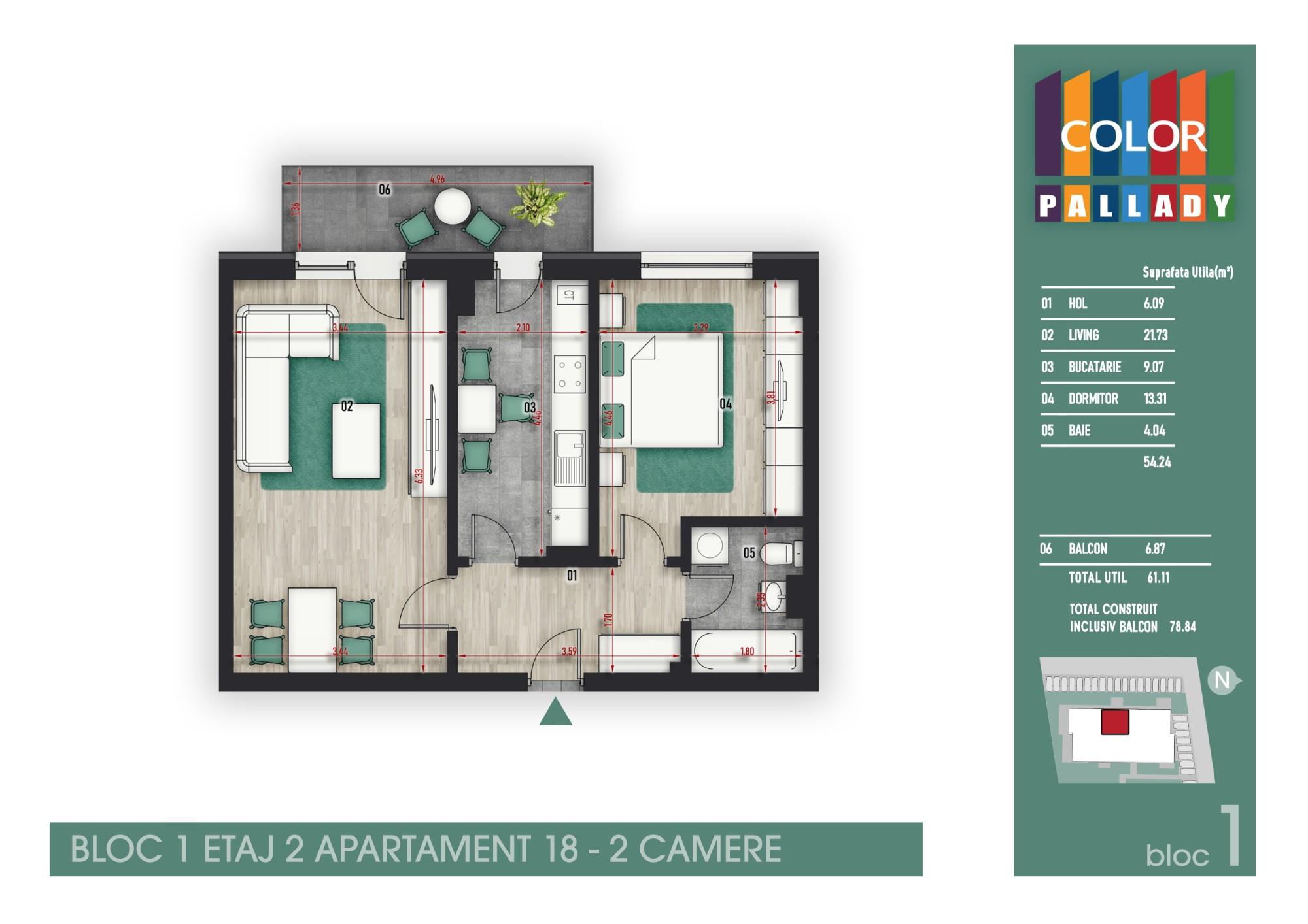 Bloc 1 - Etaj 2 - Apartament 18