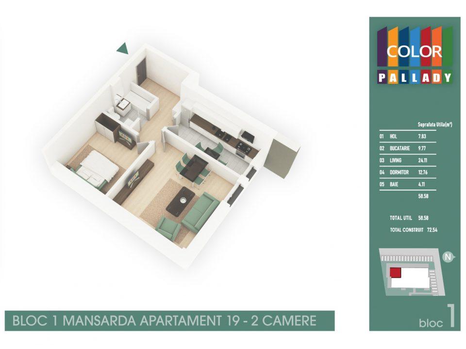 Bloc 1 – Mansarda – Apartament 19