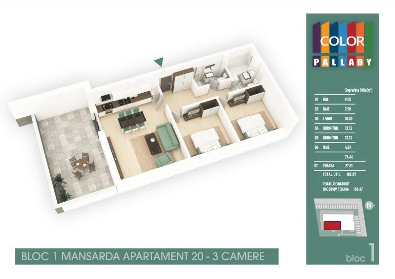 Bloc 1 - Mansarda - Apartament 20