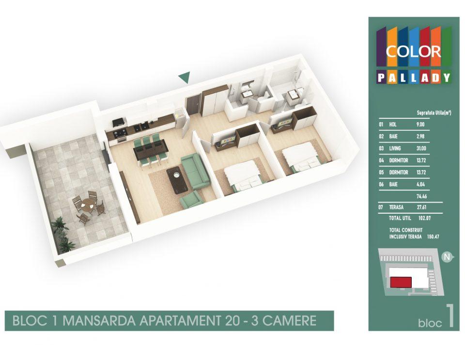 Bloc 1 – Mansarda – Apartament 20
