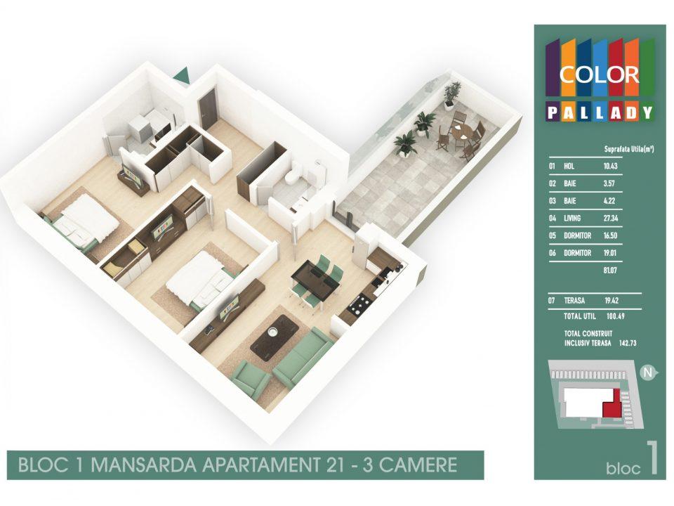 Bloc 1 – Mansarda – Apartament 21