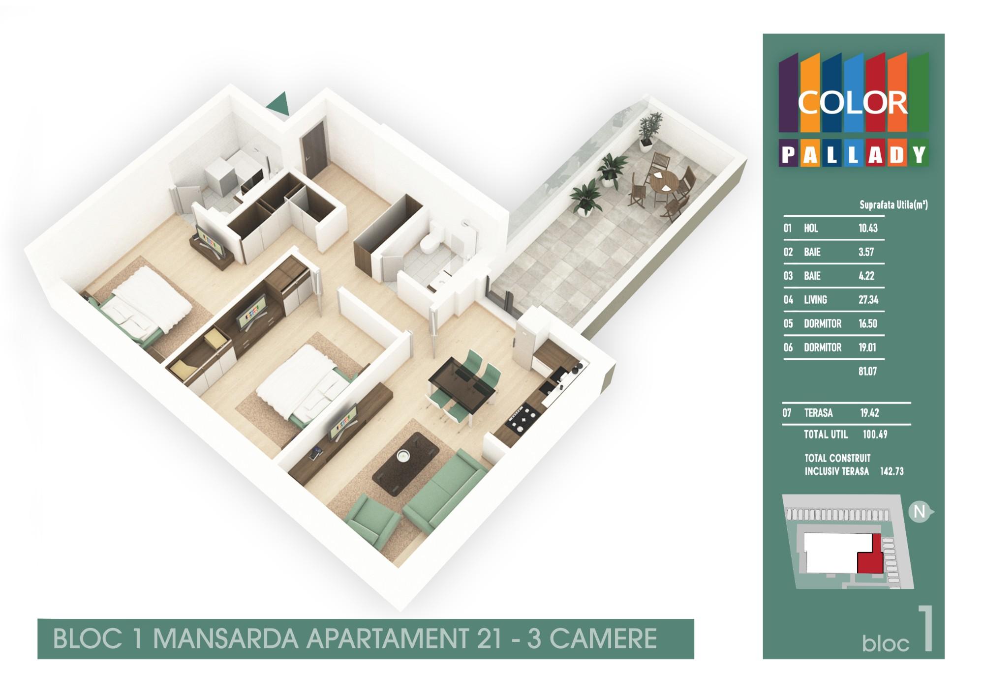 Bloc 1 - Mansarda - Apartament 21