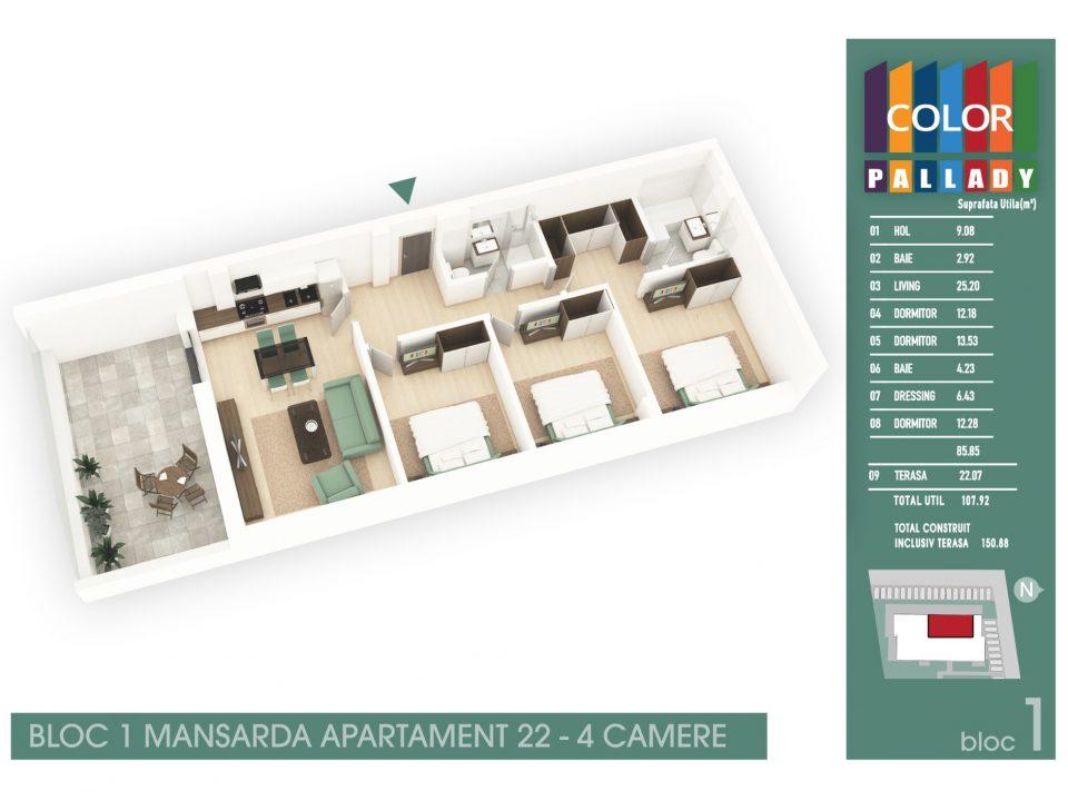 Bloc 1 – Mansarda – Apartament 22