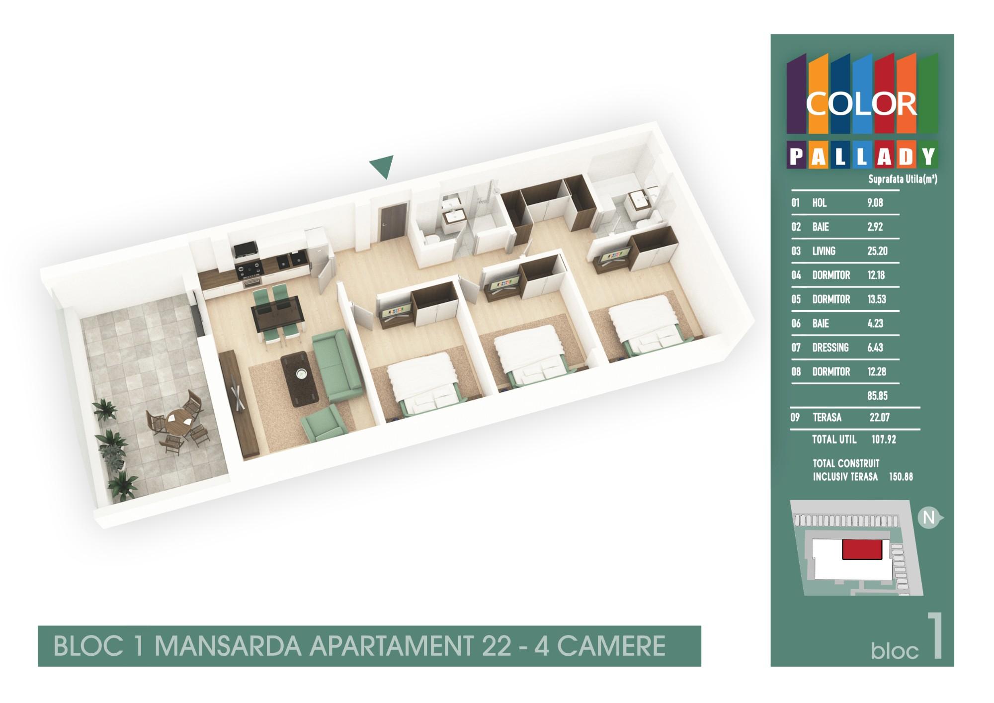 Bloc 1 - Mansarda - Apartament 22
