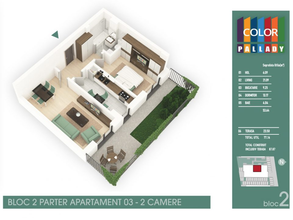 Bloc 2 – Parter – Apartament 03