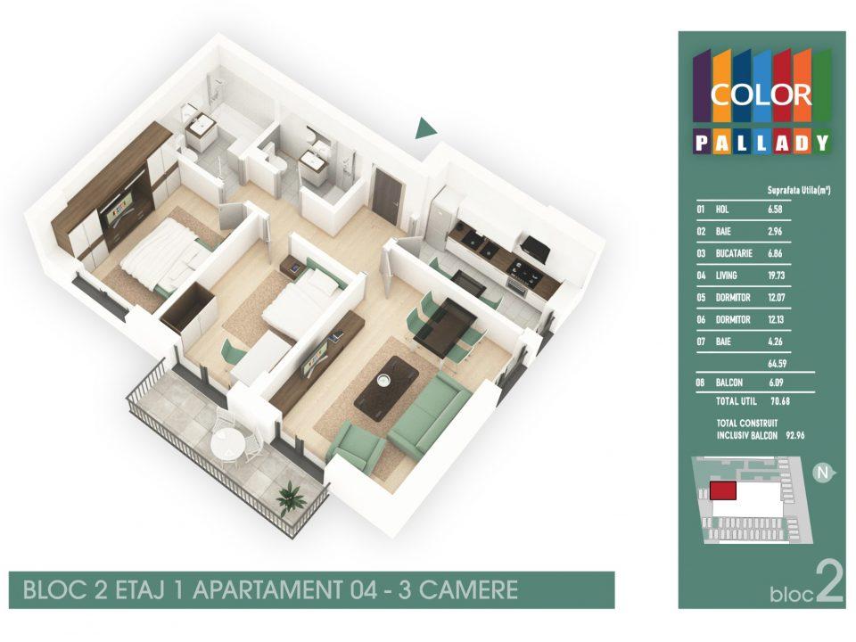 Bloc 2 – Etaj 1 – Apartament 04