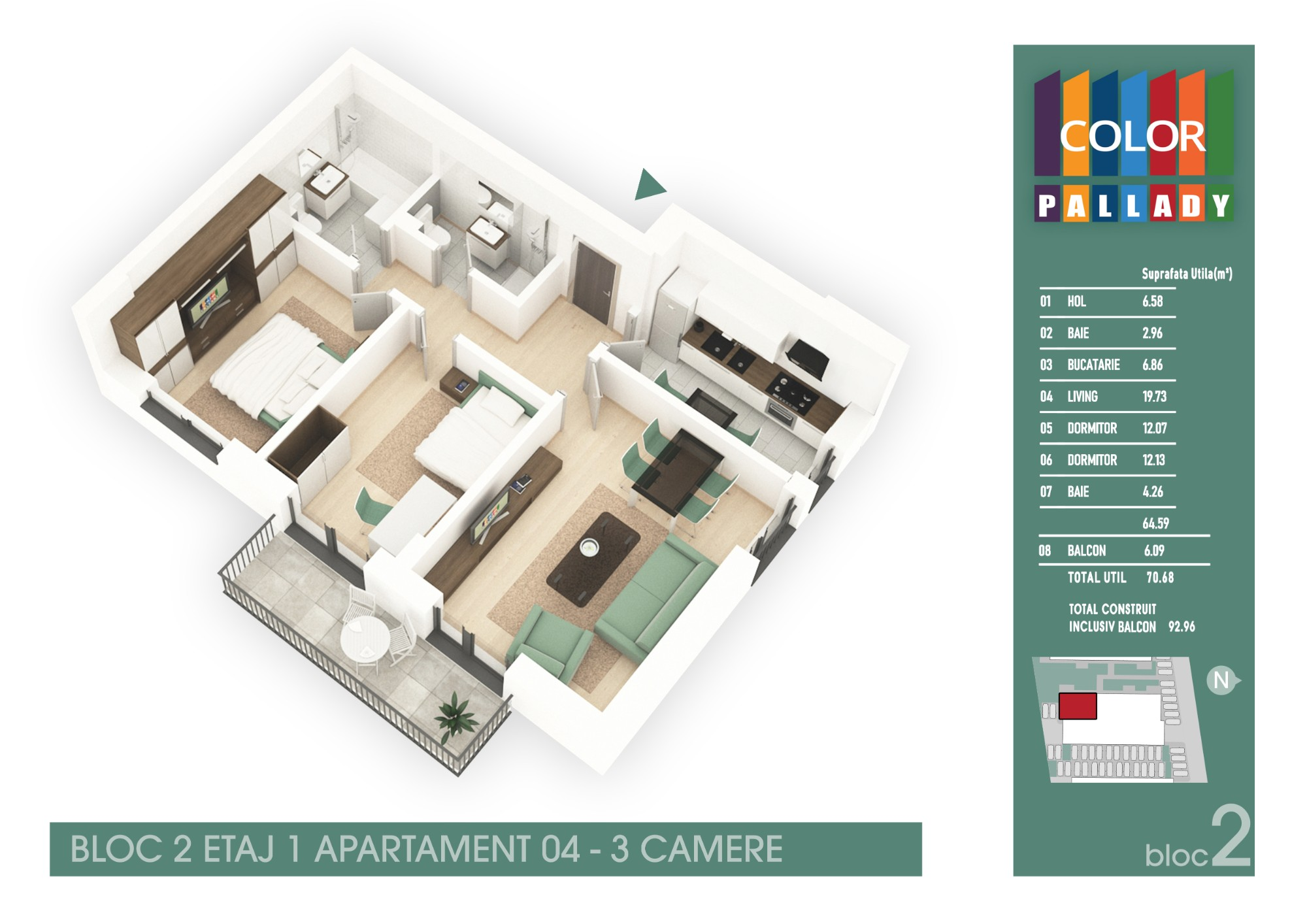 Bloc 2 - Etaj 1 - Apartament 04
