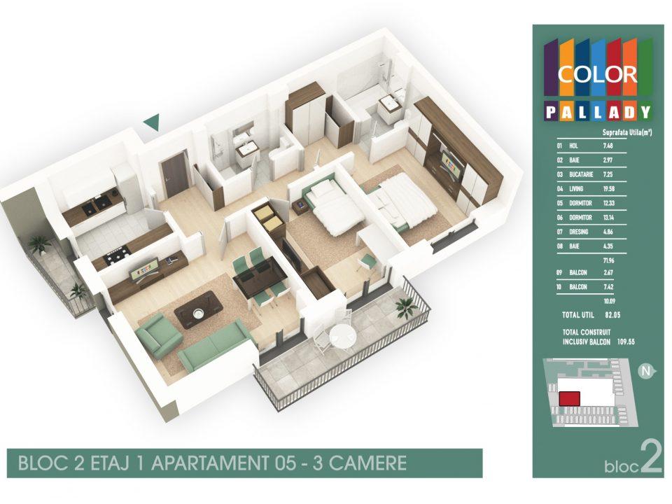 Bloc 2 – Etaj 1 – Apartament 05