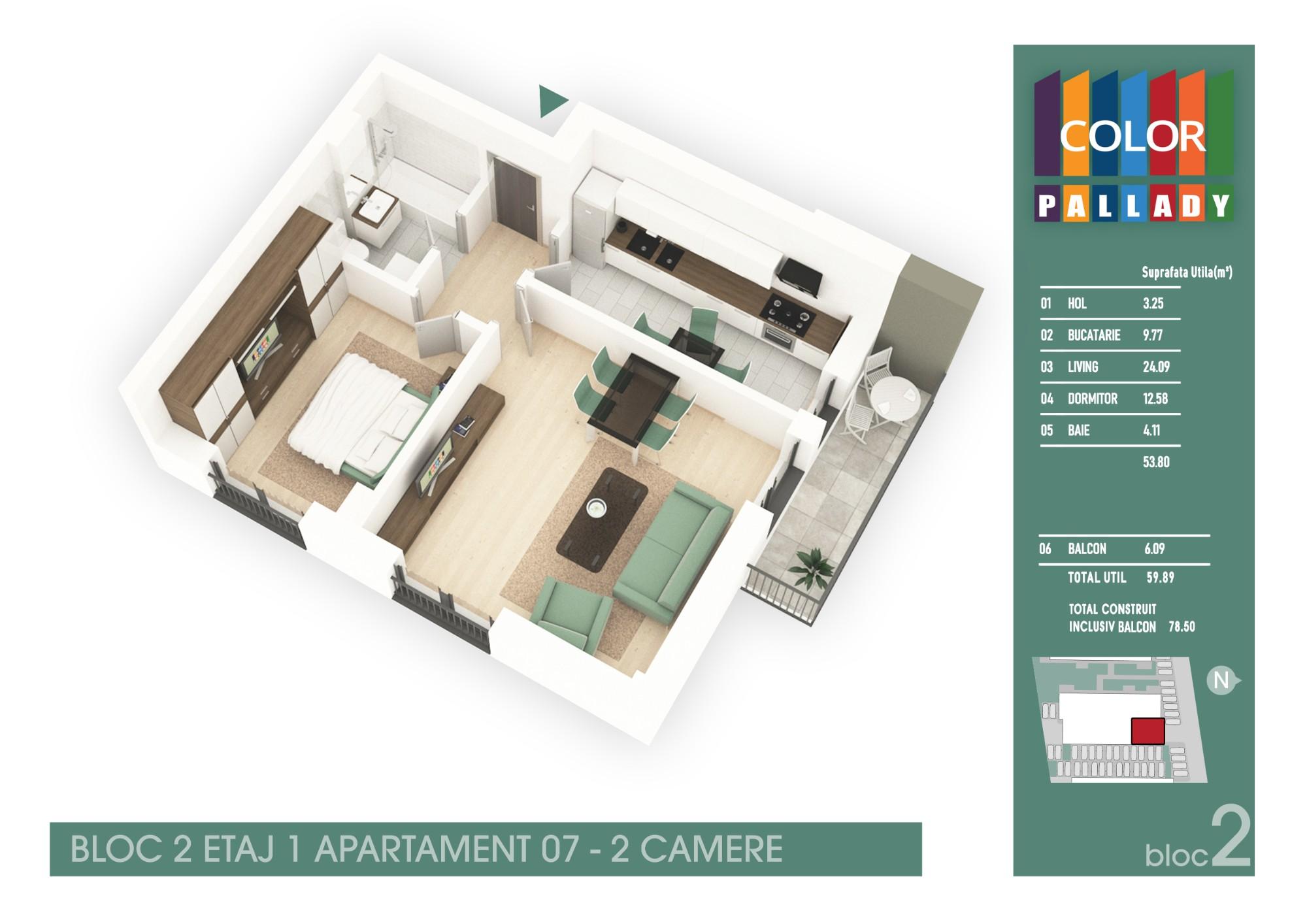 Bloc 2 - Etaj 1 - Apartament 07
