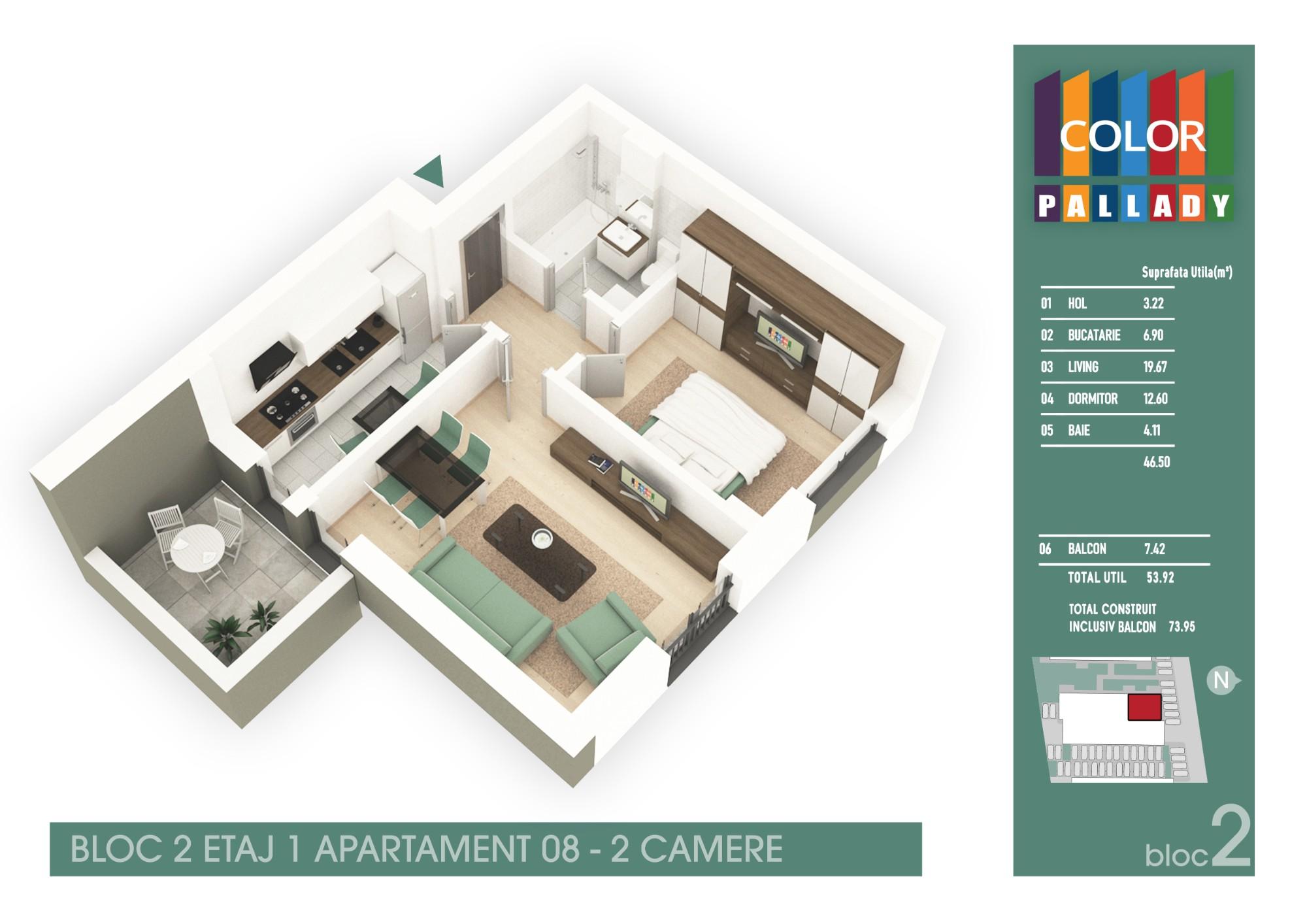 Bloc 2 - Etaj 1 - Apartament 08