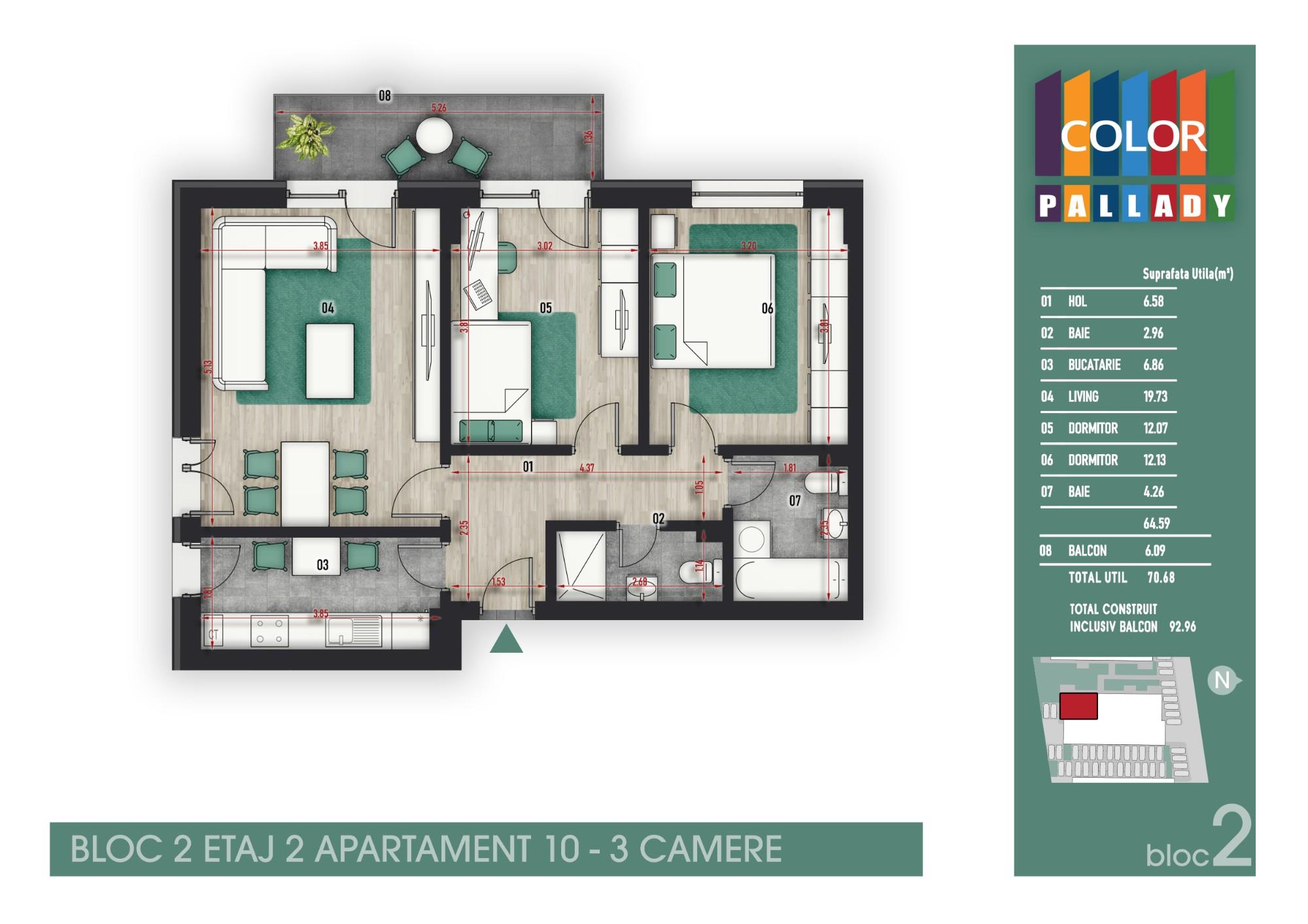 Bloc 2 - Etaj 2 - Apartament 10
