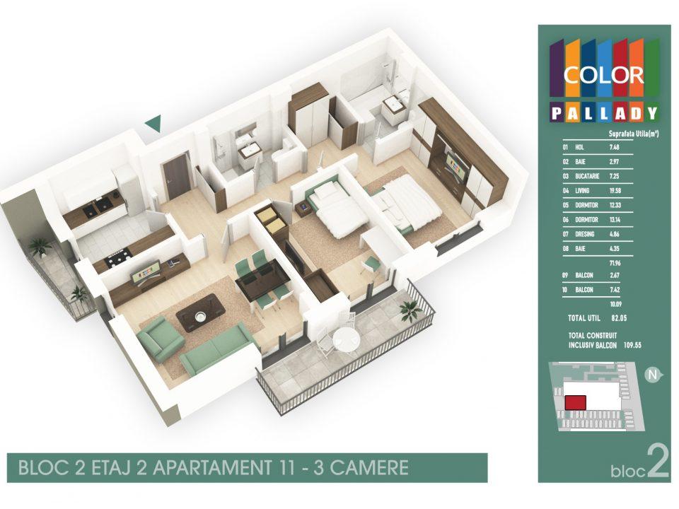 Bloc 2 – Etaj 2 – Apartament 11