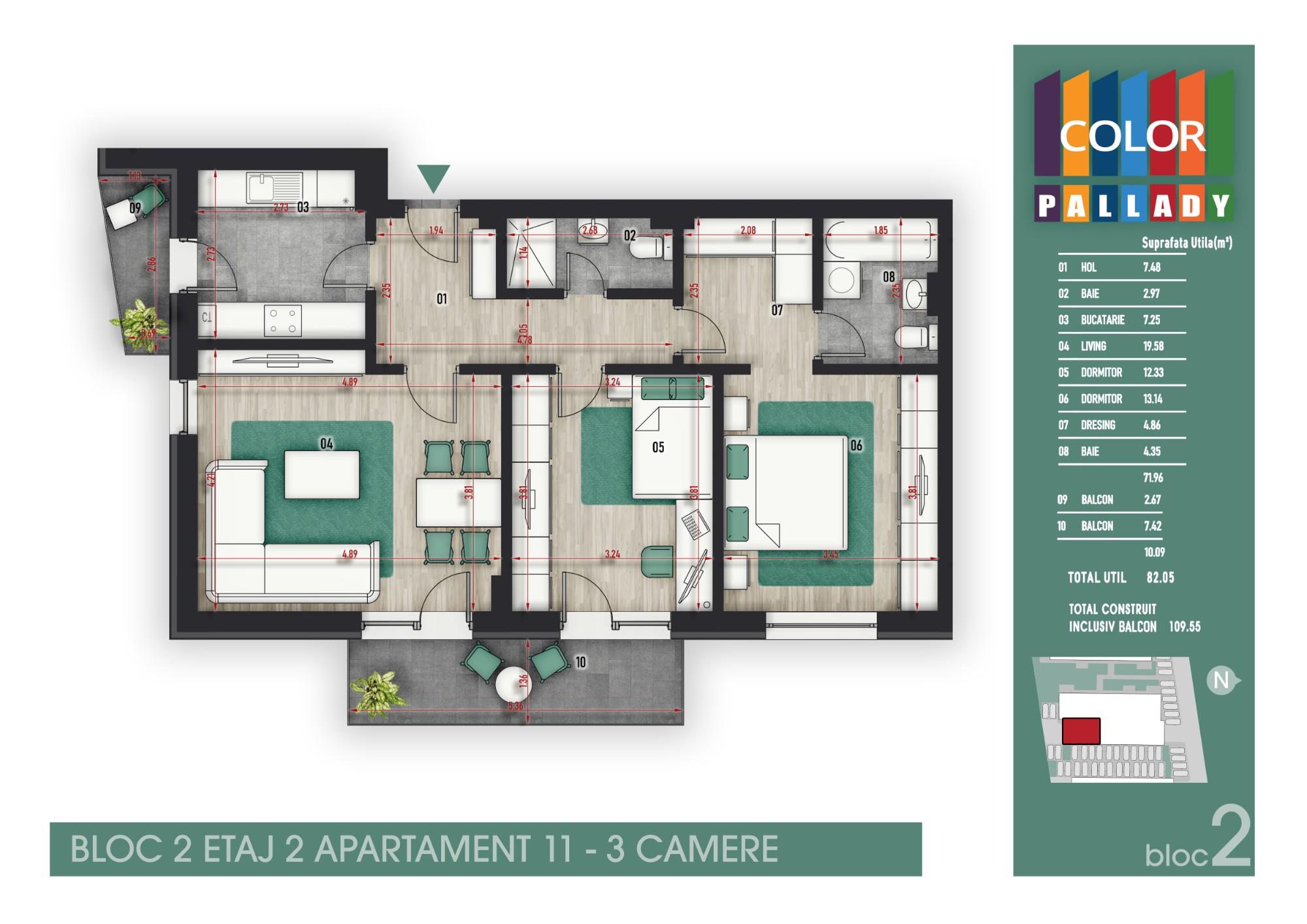 Bloc 2 - Etaj 2 - Apartament 11
