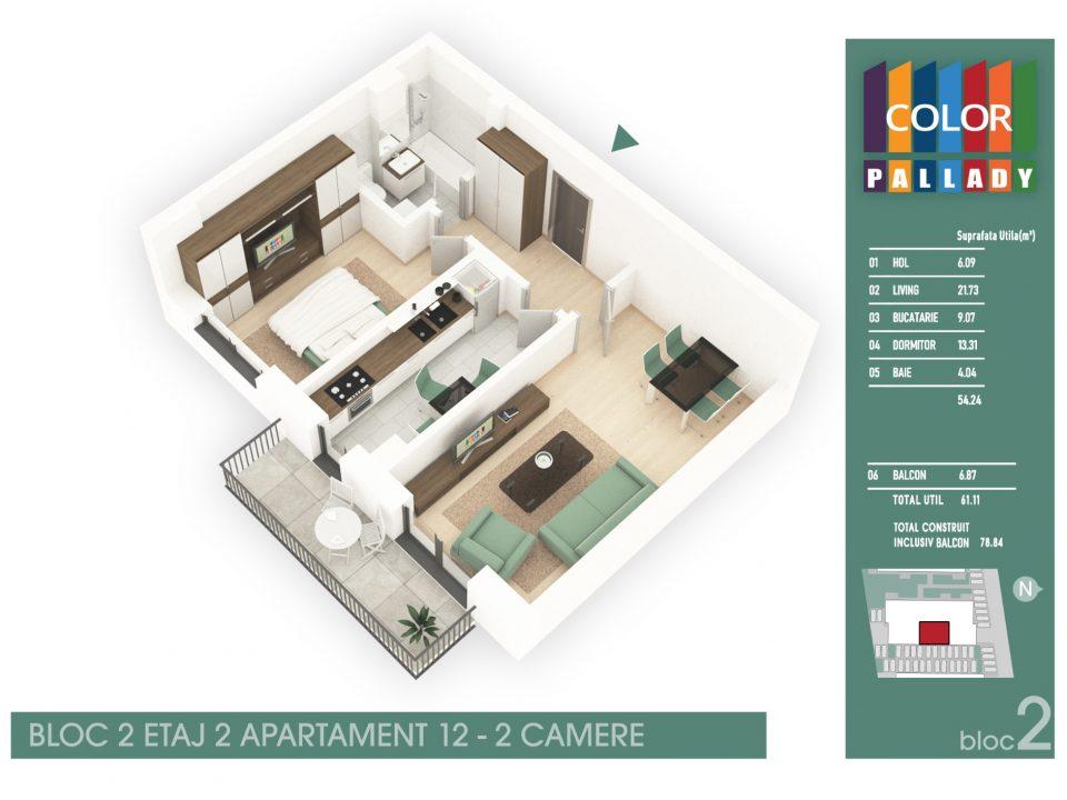 Bloc 2 – Etaj 2 – Apartament 12