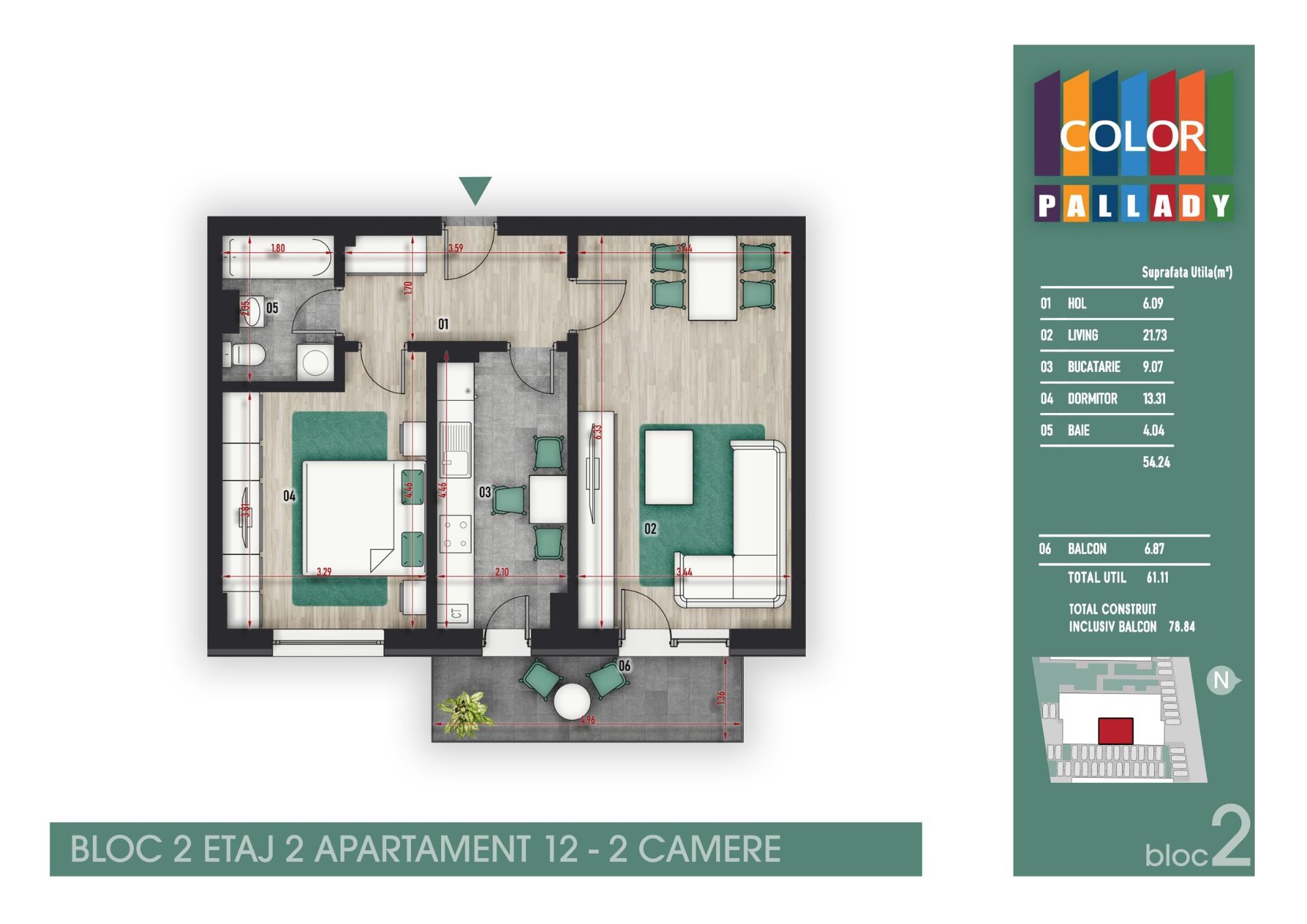 Bloc 2 - Etaj 2 - Apartament 12