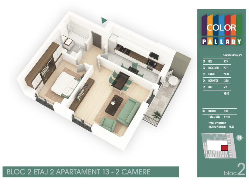 Bloc 2 – Etaj 2 – Apartament 13
