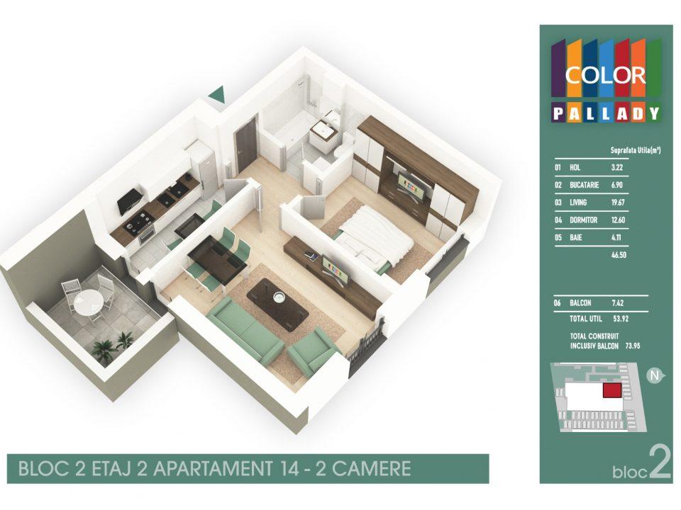 Bloc 2 – Etaj 2 – Apartament 14