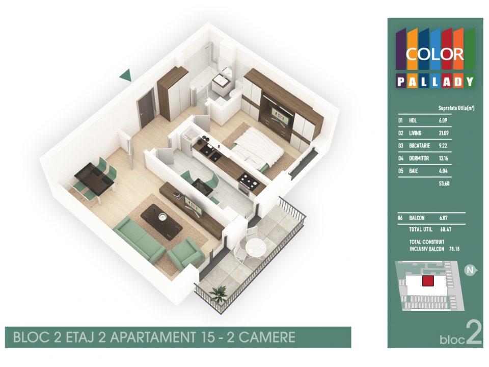 Bloc 2 – Etaj 2 – Apartament 15