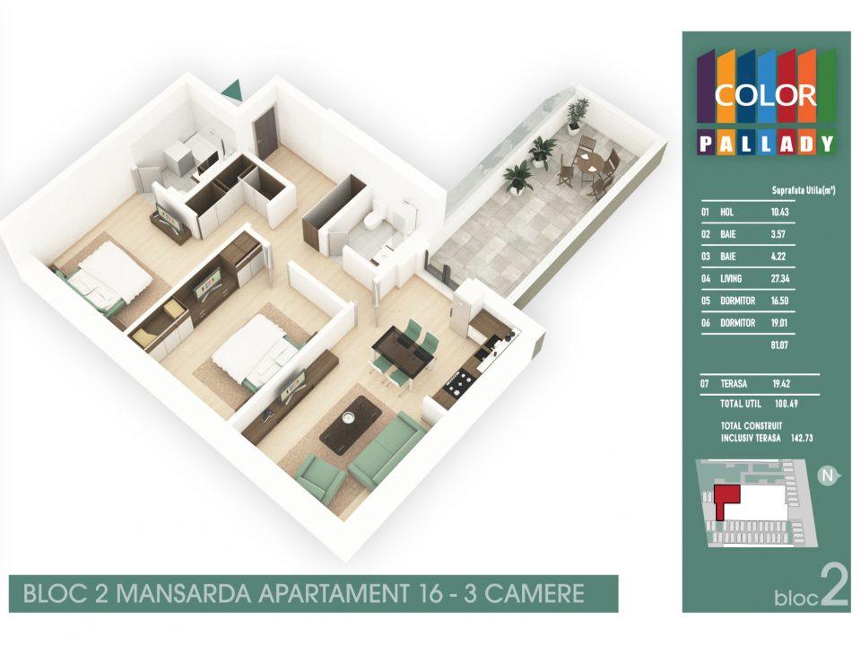 Bloc 2 – Mansarda – Apartament 16