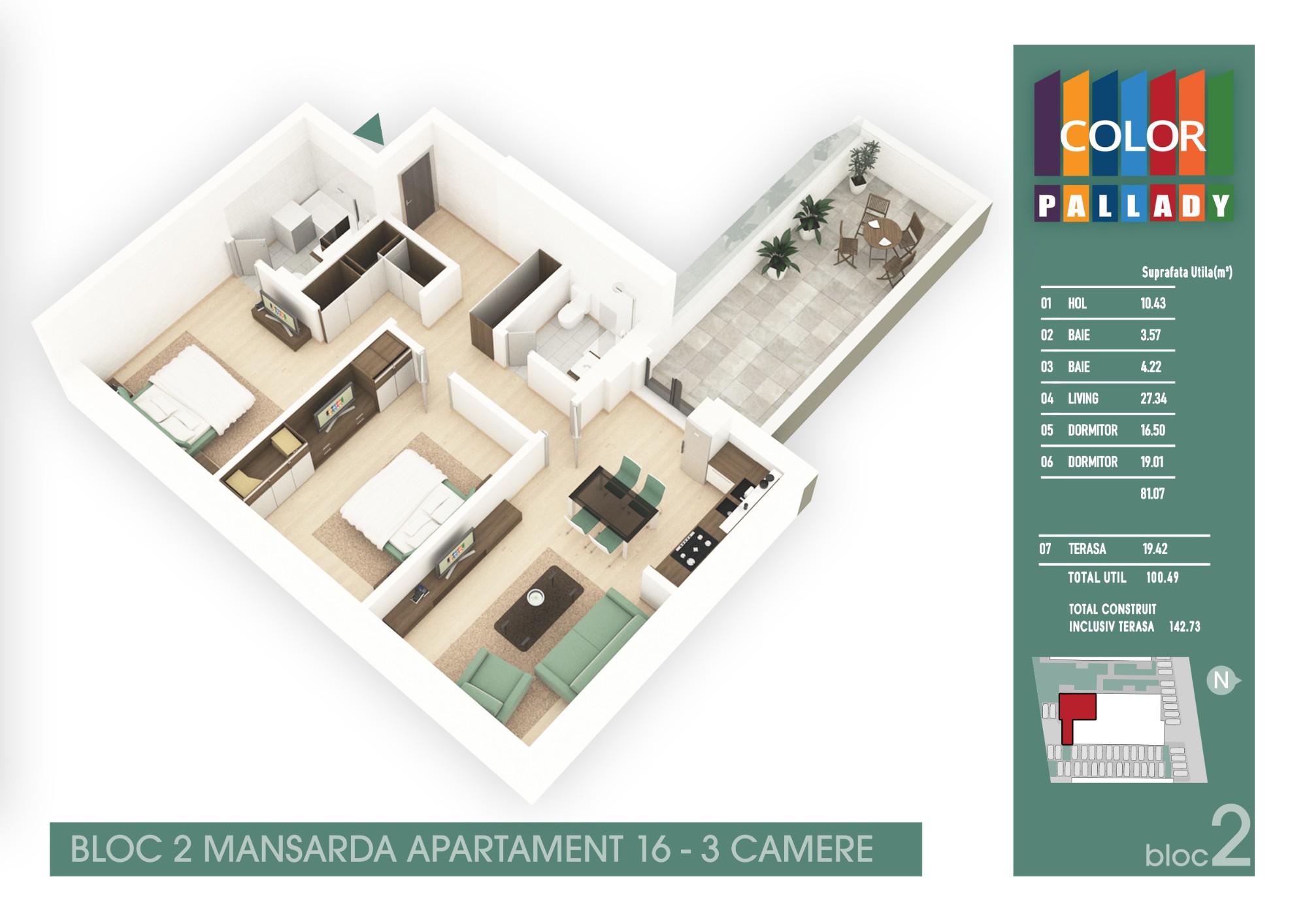 Bloc 2 - Mansarda - Apartament 16