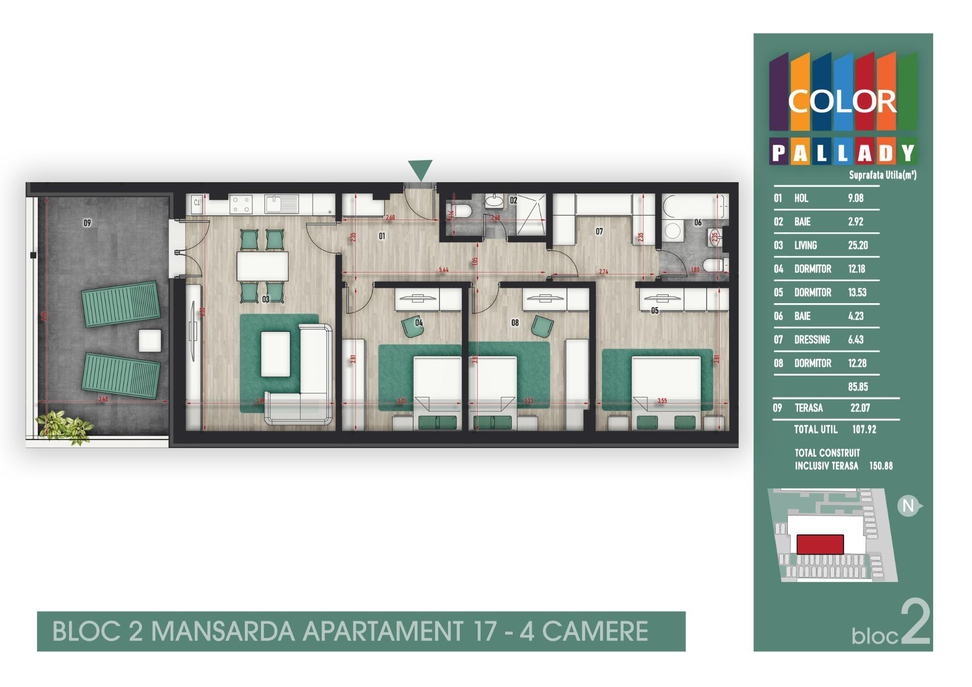 Bloc 2 - Mansarda - Apartament 17