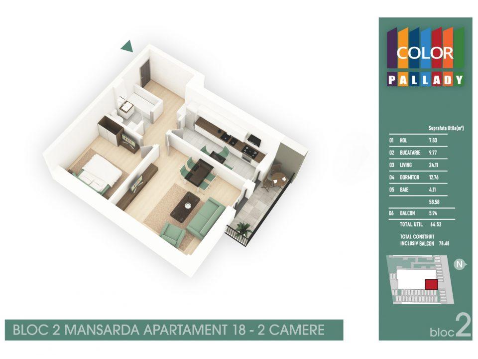 Bloc 2 – Mansarda – Apartament 18