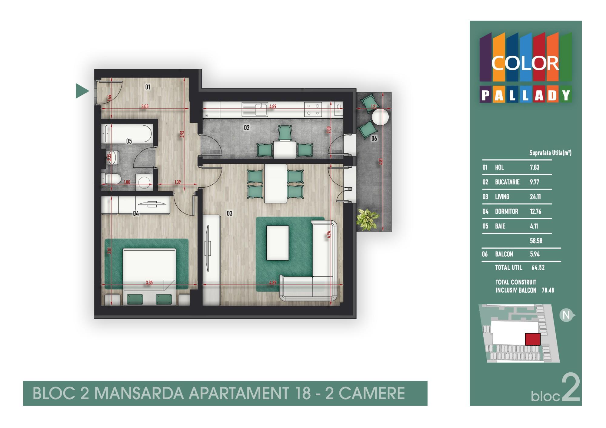 Bloc 2 - Mansarda - Apartament 18