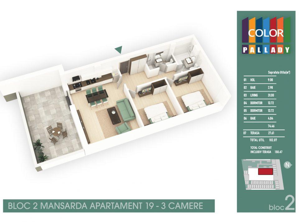 Bloc 2 – Mansarda – Apartament 19