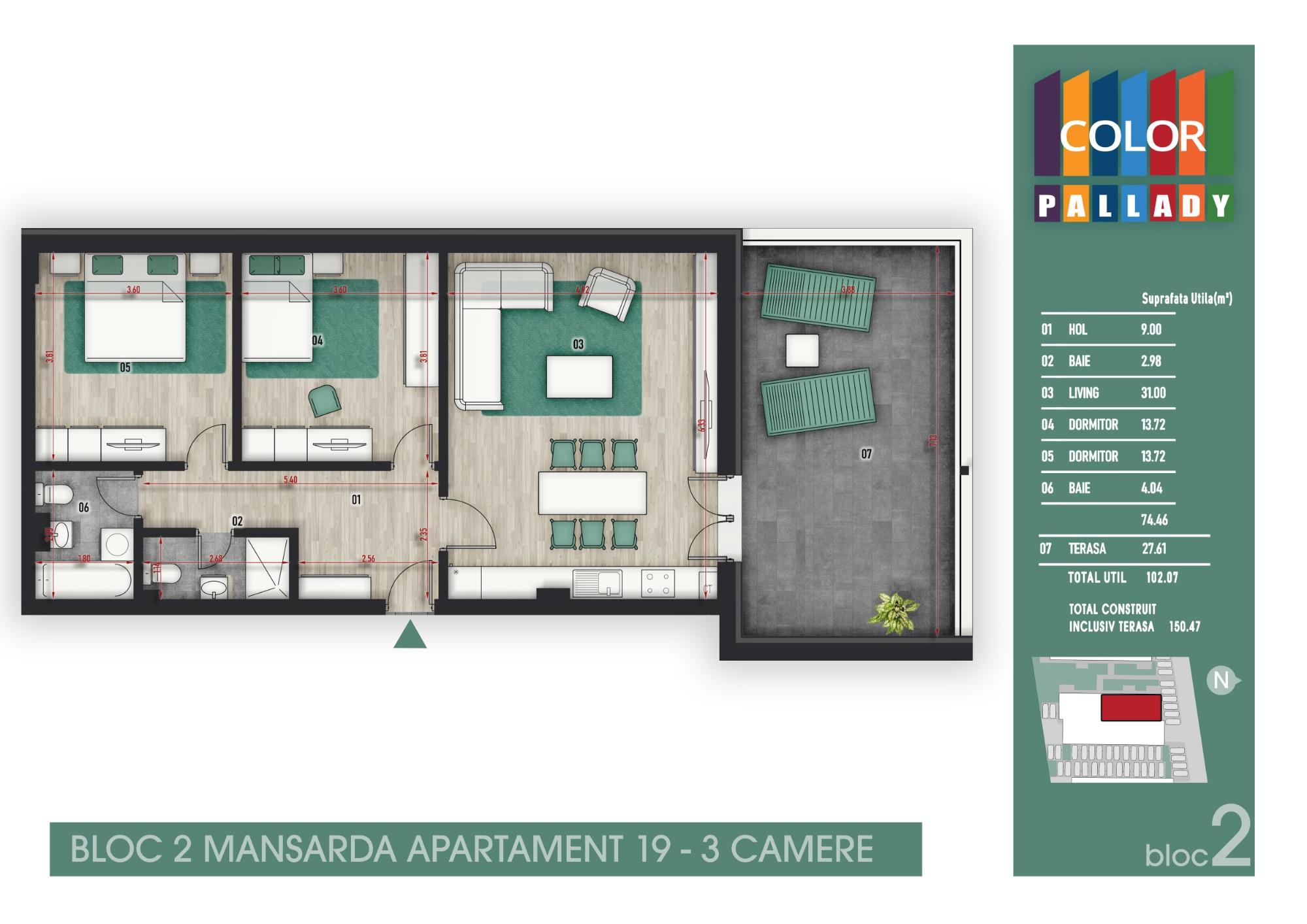 Bloc 2 - Mansarda - Apartament 19