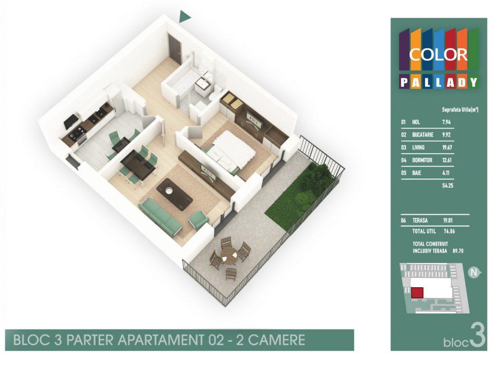 Bloc 3 – Parter – Apartament 02