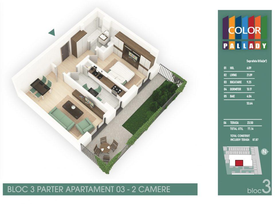 Bloc 3 – Parter – Apartament 03