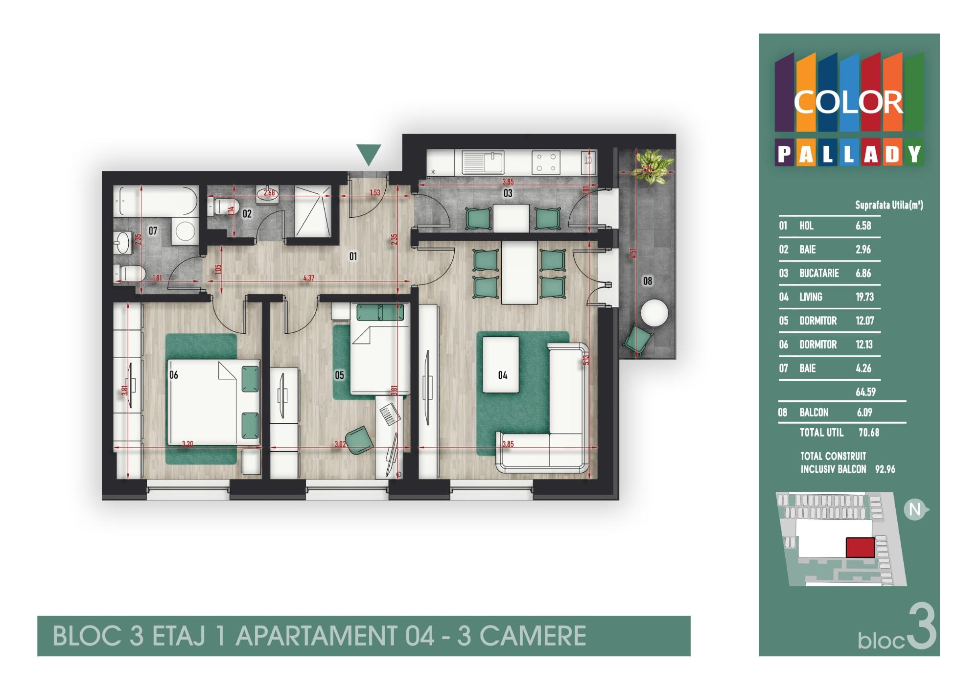 Bloc 3 - Etaj 1 - Apartament 04
