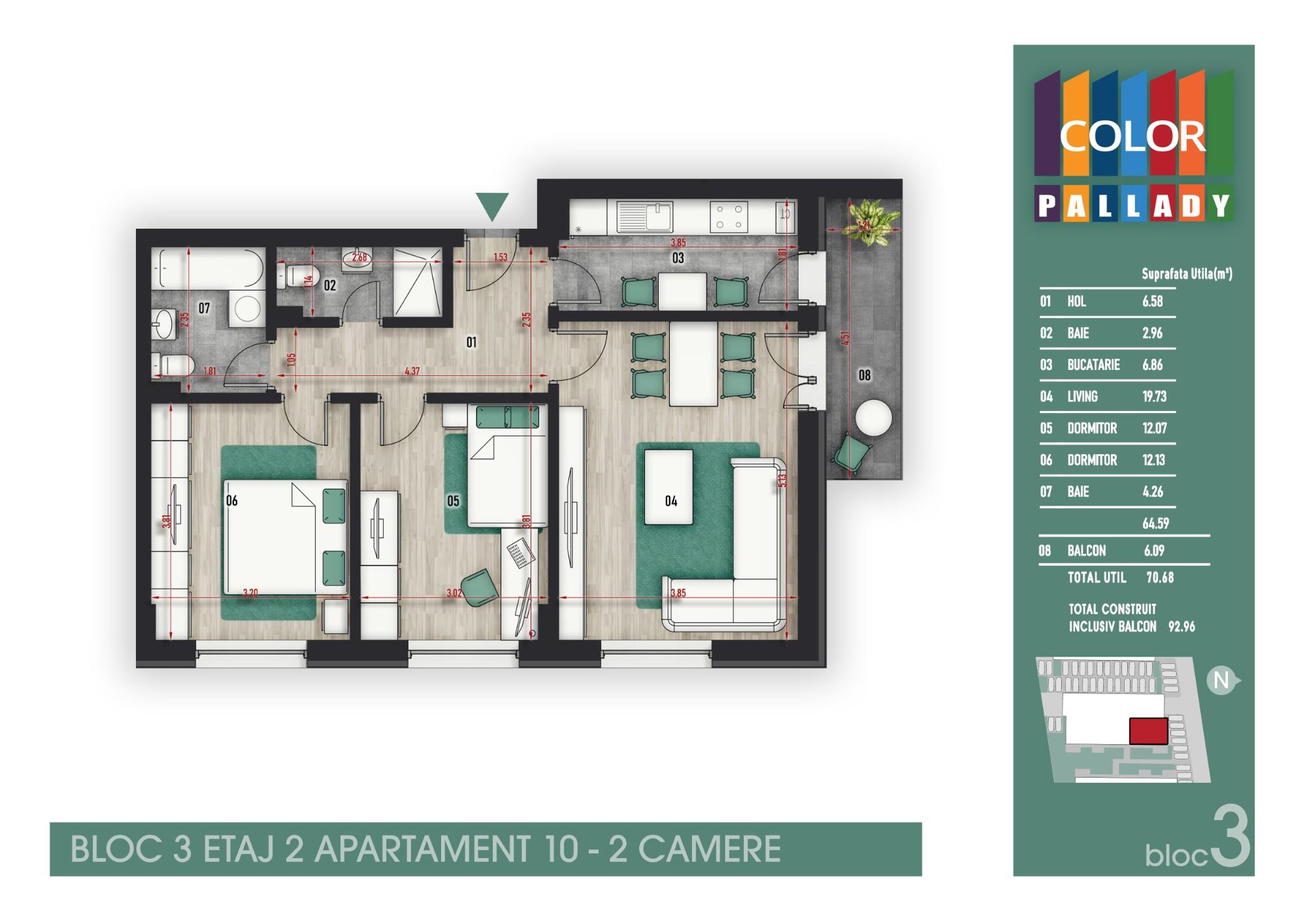 Bloc 3 - Etaj 2 - Apartament 10