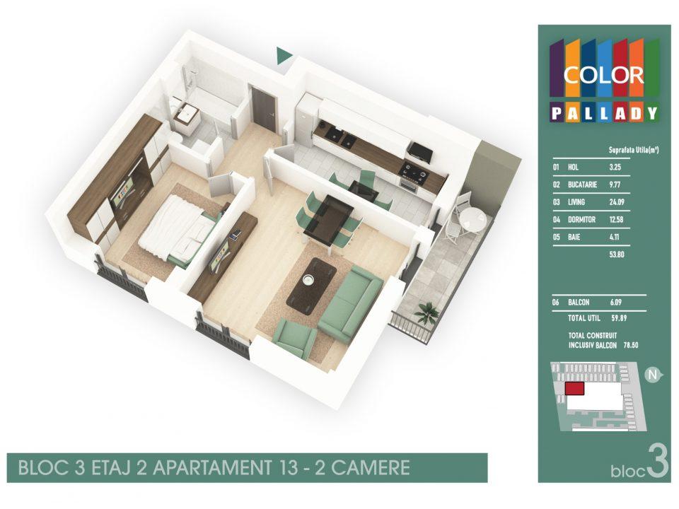 Bloc 3 – Etaj 2 – Apartament 13