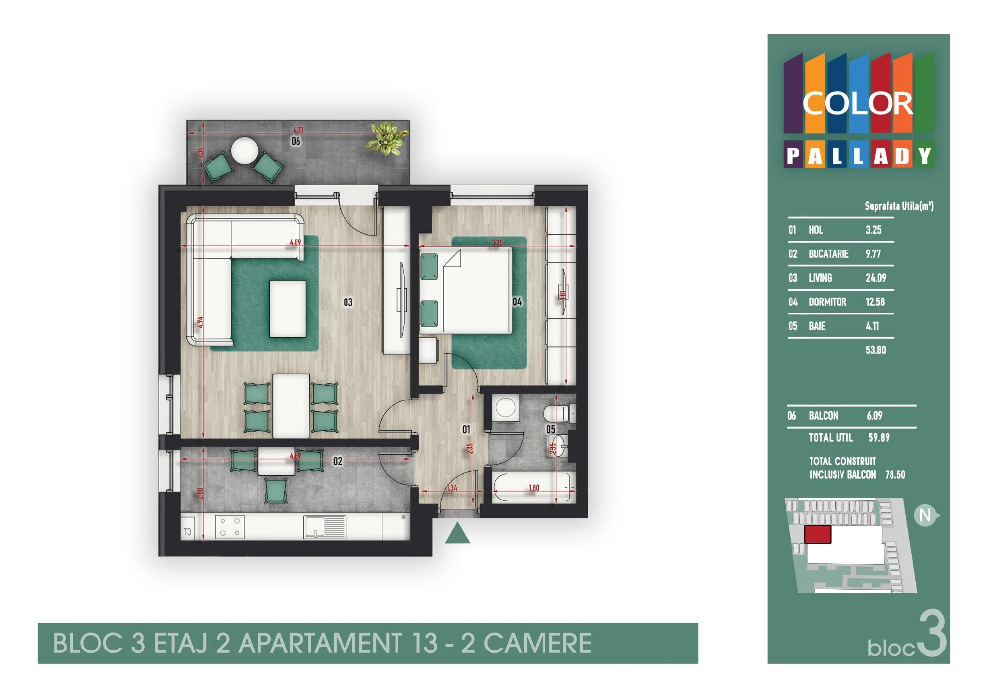 Bloc 3 - Etaj 2 - Apartament 13