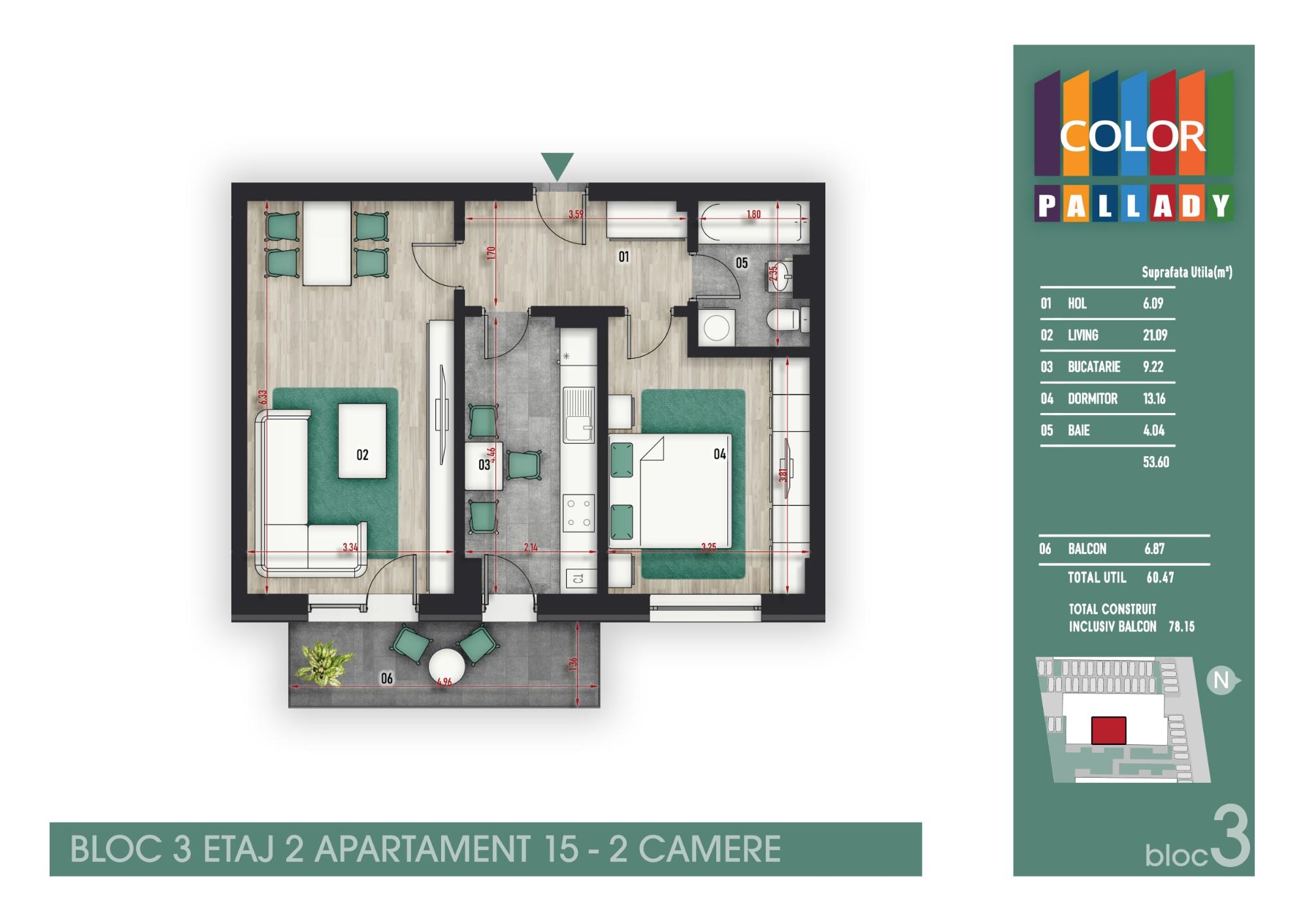 Bloc 3 - Etaj 2 - Apartament 15